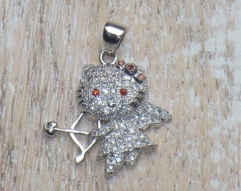 Pave Cz Hello Kitty Cupid Charm-Bow and Arrow-Love Charm