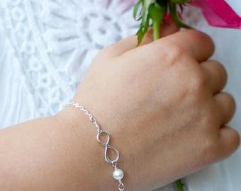 Child's infinity bracelet with pearl accent, Sterling silver bracelet, little girls