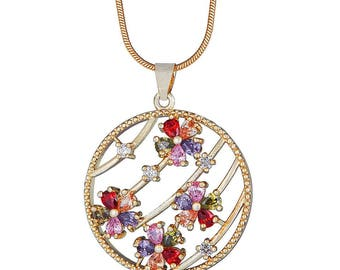 14k Gold Filled String Chain Necklace with 4-Flower Circle Pendant