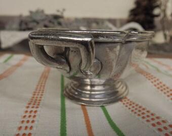 ancienne saucière en métal argenté, art de la table d'hôtellerie, Reed & Barton,silver soldered,old silver sauce boat,art of the hotel table