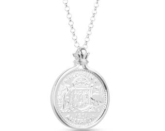 Australian Florin Coin Pendant set and plated in Sterling Silver