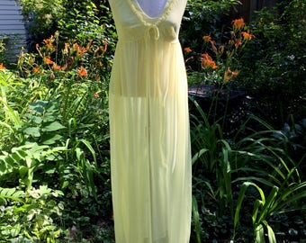 Vintage Pale Yellow Chiffon Nightgown with Tie / Sheer Nightgown / Rayon Nightgown / circa 1970s