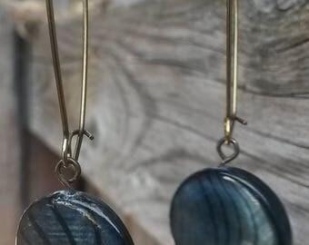 Gorgeous Deep Blue Shimmer Drop Earrings