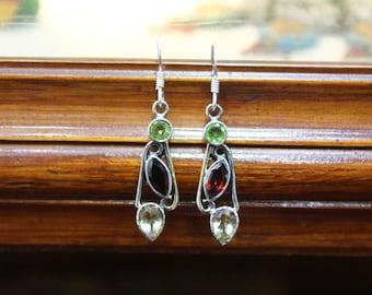 925 Sterling Silver Multi Stone Earring Peridot,Garnet and Citrine Earring
