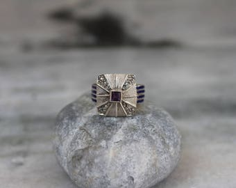 925 Sterling Silver Ring Studded with Zirconia and Amethyst Enamled Silver Gemstone Ring