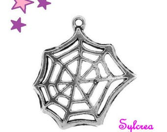 2 large cobwebs 3D sterling silver 25 mm