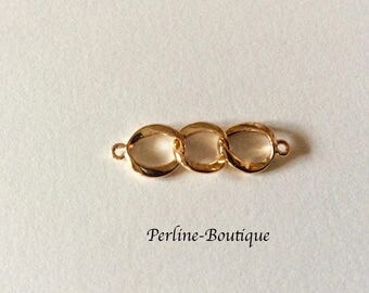 Small 3 rings gold plated connector