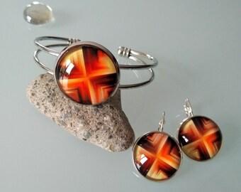 Set Bangle bracelet + earrings with orange/yellow pattern glass cabochon