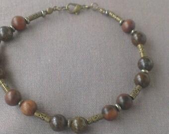 Gems - bronze and precious wood bracelet