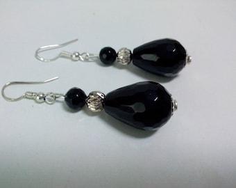 onyx earrings, 925 sterling silver, black onyx, gemstones, drop, retro, romantic, Bohemian, onyx, women gift jewelry