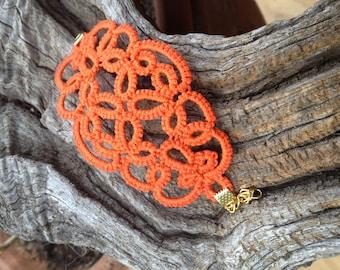 Orange cotton tatted lace Cuff Bracelet