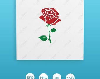Rose SVG, flower svg, rose clipart, flower clipart, red rose, svg files for silhouette, files for cricut, valentine svg files, vector LB501