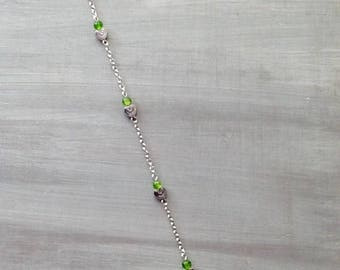 Chain anklet green heart