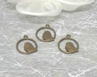 3 in round circle bird charms bronze