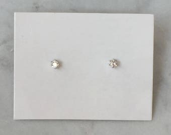 Tiny Diamond Stud Earrings | Crystal Solitaire Earrings | Sterling Silver Jewelry | Everyday Earrings | Minimalist Jewellery | Gifts for Her
