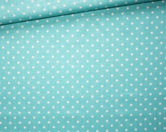 White dots, turquoise, 100% cotton fabric printed 50 x 160 cm white dots on turquoise background pattern