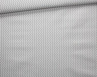Cotton fabric printed 50 x 160 cm, mini, small gray and white chevron zigzag