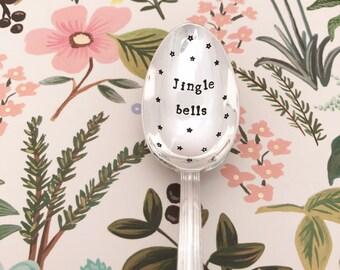 """Metal spoon silver spoon engraved """"jingle bells"""" -"""
