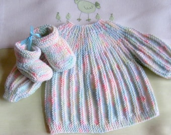 "Jacket and booties ""multicolor"" baby size newborn - hand made knit"