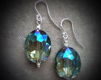 beautiful glass and silver 925 earrings