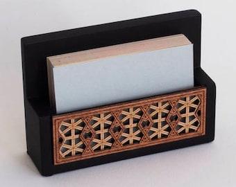 Luxury Wooden Business Card Holder / Organiser made from Real Wood Veneer - Desk Set & Desk Tidy - Lattice Geometric Design