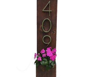 Address Planter, House Numbers Sign, Address Sign, Address Plaque, New House, Rustic Address Planter, Vertical Address Sign -1 Number Option