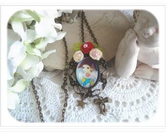 """Pendant Cabochon de Style Vintage/romantic, """"Harlequin rose"""""""