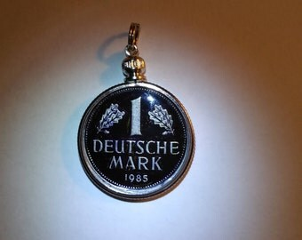 Hand Painted 1985 German Duetsche Mark Coin Pendant