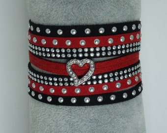 Red and Black Suede Cuff Bracelet