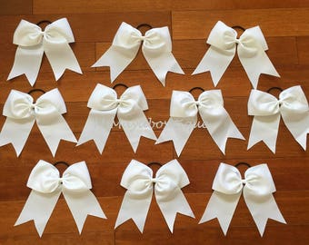 White cheer bows, football cheer bows, white cheerleading bows, white big bows, cheer bows senior, cheer bows cheap, teen hair accessories