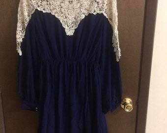 Navy Blue and Cream Lace Dress