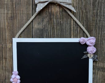 Blackboard with shabby chic roses