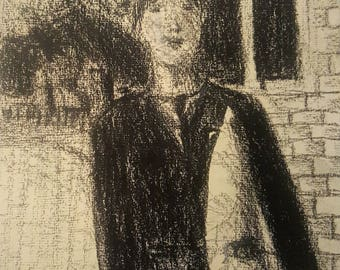 Tribute to G.Seurat 1 drawing chalk told on rag paper