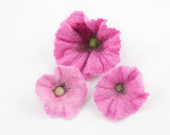 3pcs-Set of 3 hand felted pink flowers-Wool-Silk