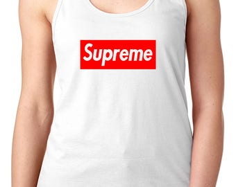 Womens Supreme Tanktop, Red Supreme Box Logo, Supreme Clothing