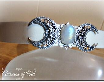 Rainbow Moonstone Triple Goddess Headband, Wedding Headpiece, Black Silver or White Leather