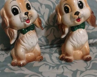 Cute little puppy figurines. Salt and pepper puppies.