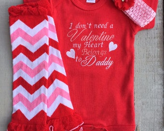 I Don't Need a Valentine My Heart Belongs to Daddy Onesie, Valentine Onesie, Valentine Outfit, Baby Girl Embroidered Onesie
