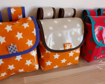 Coated fabric scooter and bicycle handlebar bag has stars, to choose orange, red, green, taupe, child birthday gift