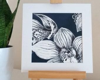 Original orchid sketch, flower artwork, black and white sketch, orchid artwork, monochrome, floral art, affordable art, original sketch