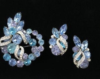 Signed Eisenberg Ice Vintage 1950s Blue Lavender Rhinestone Crystal - Demi Parure - Huge Brooch  - Clip on Earrings