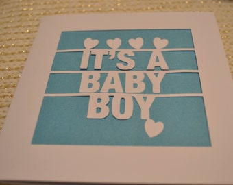 It's A Baby Boy Papercut Greetings Card  Newborn Celebration