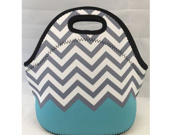 Lunch Bag | Kids Lunch Bag | Insulated Lunch Tote | Lunch Box | Office lunch bag | Holiday Gift | Teacher Gift Nurse Gift | Green Chevron