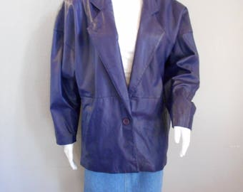 Blue Leather Jacket Toffs brand size small medium womens dolman sleeve