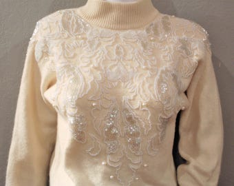 White/Cream Beaded Lambswool blend sweater/size XS to XXS/