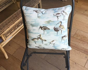 Lovely pale blue 17 inch scatter cushion with wading birds And pale blue piping