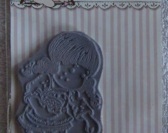 Tilda spreading seeds grey rubber stamp by Magnolia