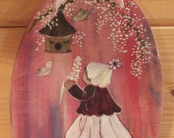 little girl and birds: painting on wood