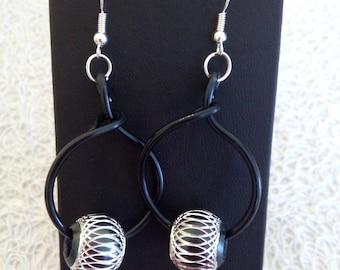 aluminium and bead earrings