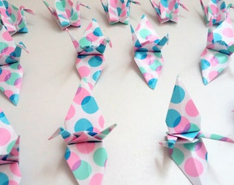 Set of origami cranes: Bubbles Collection